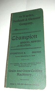 1898 Champion Binders Mowers Log Book Warder Bushnell Glessner Springfield OH
