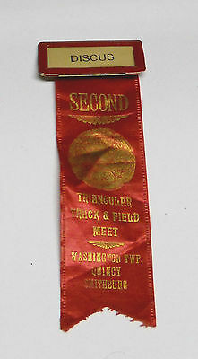 Vintage Triangular Track & Field Meet Second Place Discus Ribbon