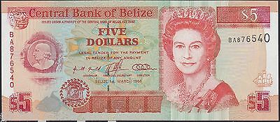 Belize - 1996 $5 Banknote 1-3-1996 .P58..Uncirculated