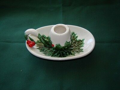 Pretty Vintage Lefton China Christmas White Holly Berry Candle Holder