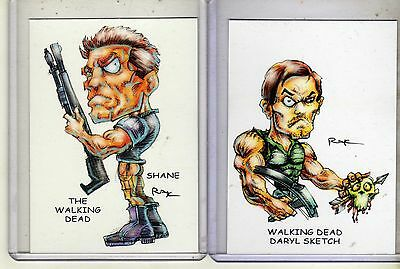 The Walking Dead Tv Series Set #1 (2 Cards) Art Prints Daryl Sketch Shane