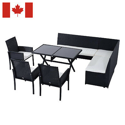 7pcs Black Wicker Rattan Sofa Chair Table Set  Outdoor Lounge Dining Furniture
