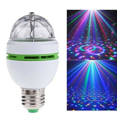 Full Color 3W E27 LED Rotating Lamp Disco Party Club Effect Lights Stage Bulb SE