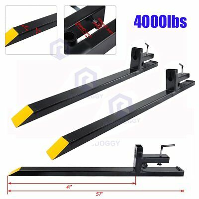 HD Clamp on Pallet Forks 4500lbs Capacity Loader Bucket Skidsteer Tractor Chain