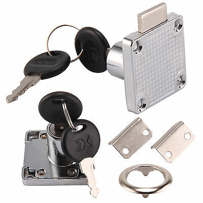 Cam Lock Silver Door Furniture Cabinet Letter Drawer Cupboard 2 Locks 4 Keys