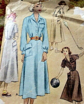 LOVELY VTG 1950s SPORTS DRESS McCALL Sewing Pattern 14/32