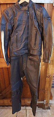 FRANK THOMAS Defender Two Piece Black Sports Touring Motorcycle Leathers Size 12