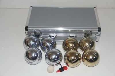 BuyBocceBalls 73mm Metal Bocce/Petanque Set with Gold and Silver balls and Metal