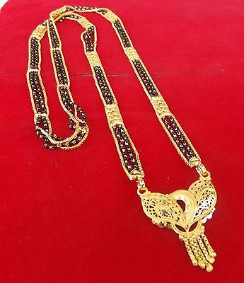 Indian Bridal Jewelry American Gold Plated Necklace Ethnic Long Mangalsutra mh9