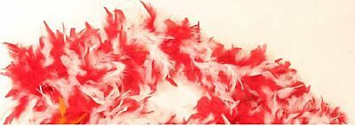 Red & White Feather Boa Burlesque 20's Fancy Dress Accessory 180cm P5957