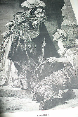 Original Illustrated London News Print Charity Lady And Old Man