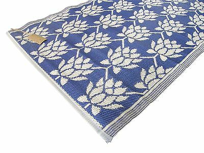Mediterranean Blue Floral Recycled Woven Easy Clean Hallway Mat Rug 90X180Cm