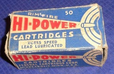 BR1829 Vtg Federal Cartridges Corp 22 Long Rifle Hi Power Bullet Shell Box