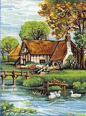 Tapestry/Needlepoint Canvas - Duck Pond Cottage - Royal Paris