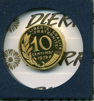 France 10 centimes 1978 piedfort oro gold only 139 pieces (#T013)