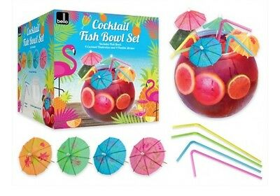 Bello 2.8L Plastic Cocktail Fish Bowl Drinking Set With Flexi Straws & Umbrellas