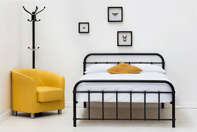 Black Metal Bed Frame Single / Double / King Size Industrial Hospital Dorm Type
