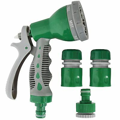 Multi-Function 7 Dial Soft Grip Garden Hose Water Spray Nozzle Gun Set Fittings
