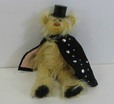 """Small Jointed Teddy Bear With Black Cape & Top Hat 7.5"""" Length"""