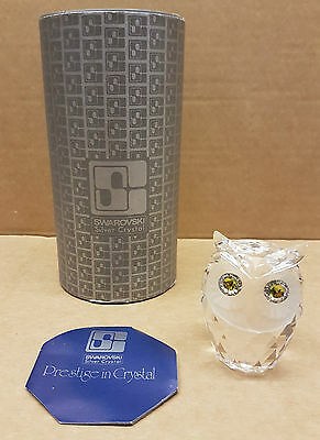 (pa2) Swarovski Crystal Green Eyed Owl Large 7636 NR 060 Boxed + Cert - Repaired