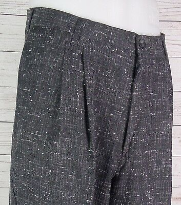 Vtg Grey Snow Fleck Pleated Tapered Peg Trousers Turn ups 80s does 50s  W30 DP97