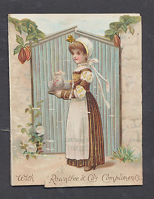 A111 UK Victorian Die Cut 2 Tab Folding Advertising: Rowntree's Cocoa
