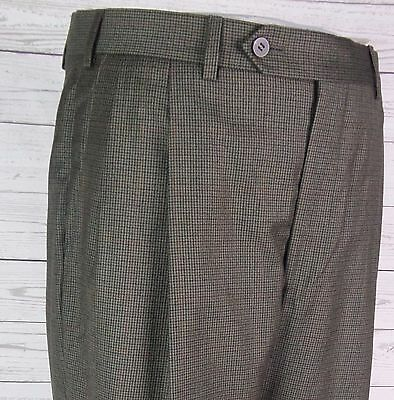 Vtg Tweed Look Pleated Tapered Wool Trousers 80s does 40s / 50s  W34 DP93