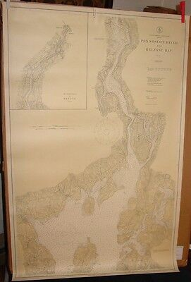 Old Maine ME Working 1917 USC&GS CHART Penobscot River & Belfast Bay Good Size