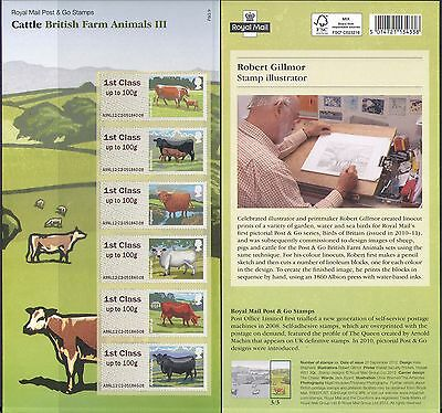 GB 2012 Cattle/Cows/Farm Animals/Farming/Nature/Animation 6v s/a ATM (n37232)
