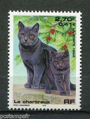 FRANCE 1999, timbre 3283, CHAT, LE CHARTREUX, neuf**, CAT, VF MNH stamp