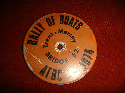 Vintage ATBC Rally Of The Boats Trent & Mersey Bridge 62 Boat Badge 1974