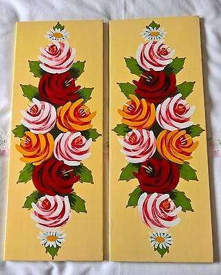 Hand Painted Hatch Narrowboats Canalboats Canal Ware Panels New Bespoke Roses