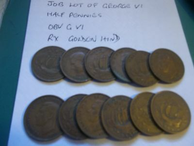 Small Job Lot Of 12 George Vi Half Penny Ship   Coins  All Dated 1944. [#c470]