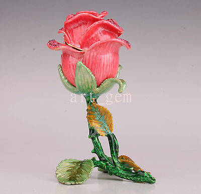 Noble Unique Metal Rare Art Statue Rose Jewelry Gift Box  Collectable Old Decora