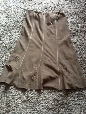 bm ladies long green suede effect pattened skirt size 12