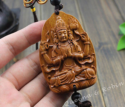 Wood Carving Chinese Four Arm Kwan Yin Statue Car Pendant Amulet Wooden Craft