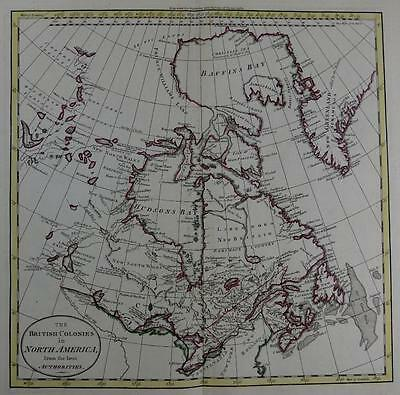 CANADA  BY WILLIAM DARTON  LARGE ENGRAVED MAP WITH  ORIGINAL HAND COLOUR   c1792