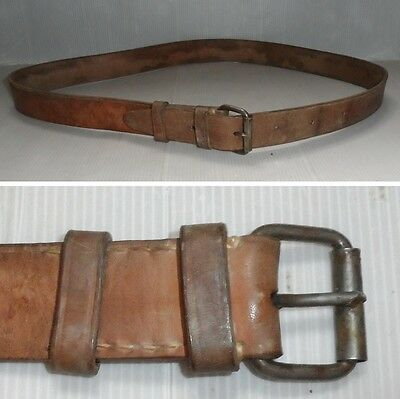"Wwii Military Leather Brown Belt, Circle Of The Waist From 34 ""to 46"""