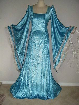 Medieval Renaissance  Gown Game Of Thrones With Silver Fur Cape Xs-Xl
