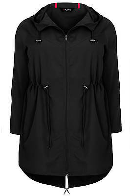 Yoursclothing Plus Size Womens Shower Resistant Pocket Parka Jacket With Hood