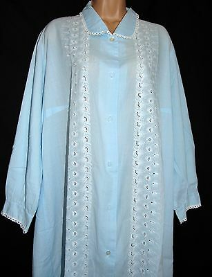 Vintage Beautiful Embroidery Anglaise Soft-Blue Long Night/morning Robe Xl-Xxl