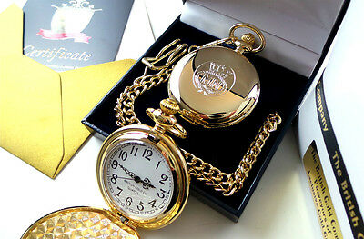 Merchant Navy REAL GOLD Plated Pocket Watch LUXURY Gift Case British Gold Co