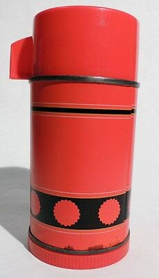P059. VINTAGE: ALADDIN'S ECONOMY Metal THERMOS BOTTLE Red and Black (c. 1950s)
