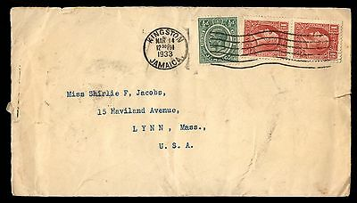 1933 Jamaica Kingston Mar 14Th Wavy Cancel To Ma Usa Cover 3 Stamps