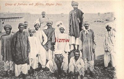 India Ethnic Khyber Pass Group Of Pathans & Afridis Native Men Pose Printed Card