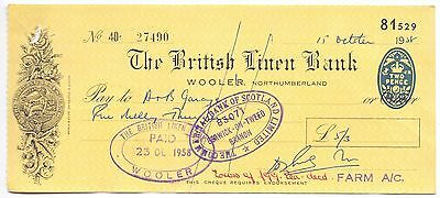 Used Cheque,British Linen Bank,Wooler/Royal Bank of Scotland 1957       (P4)