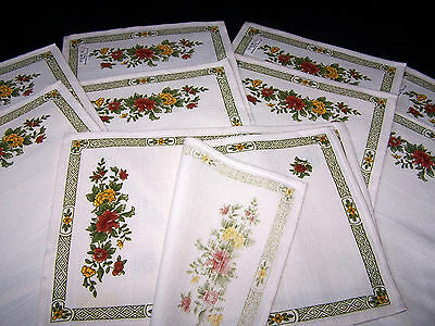 10 Vintage Unused (Set Of 10 Pieces) Linen/cotton Placemats 41 X28 Cm Immaculate