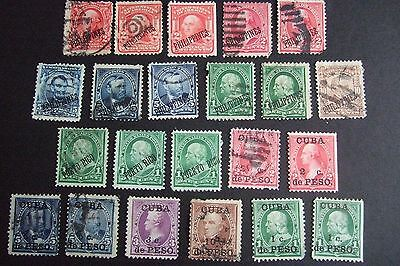 USA COLLECTION of EARLY USED OVERPRINTED PHILIPPINES & PUERTO RICO STAMPS