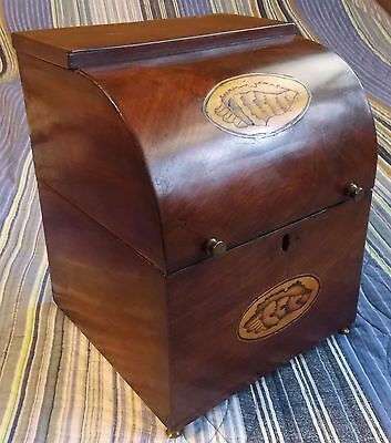 Rare Period Federal Mahogany Bowed Front 4 Bottle Chest W Bottles, Shell Inlay