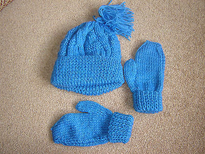 Childrens Hand Knitted Hat and Mittens Not Gloves Royal Blue Christmas Stocking